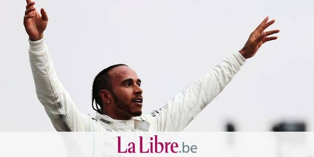 22 July 2018, Germany, Hockenheim: Motorsports: Formel-One-Championships, Grand Prix of Germany at Hockenheimring, race. Lewis Hamilton from Great Britain of the Mercedes AMG Petronas Motorsport team celebrates his victory. Photo: Jan Woitas/dpa Reporters / DPA