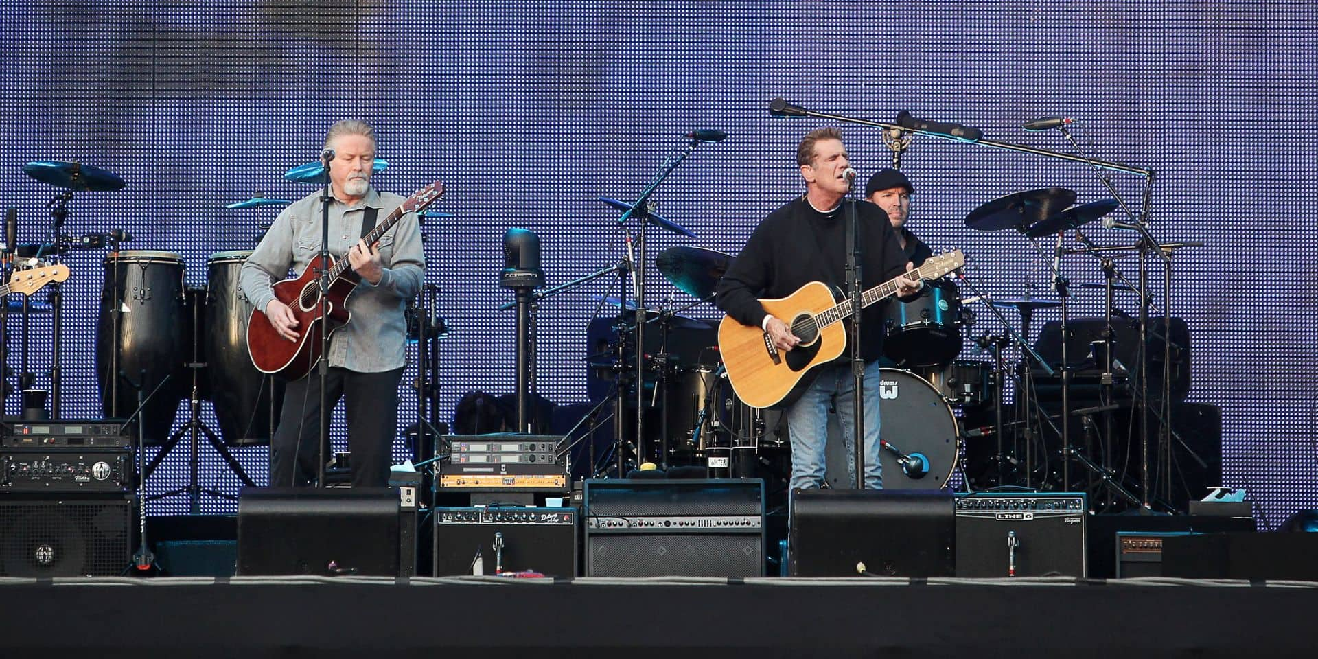 The Rock band 'Eagles' - Timothy B. Schmit (L-R), Don Henley, Glenn Frey und Joe Walsh - perform on stage at the band's first concert of the German tour at the 'Bowling Green' in Wiesbaden, Germany, 19 June 2011. The Eagles started their tour under the title 'Long Road Out Of Eden'. Photo: Fredrik von Erichsen Reporters / DPA