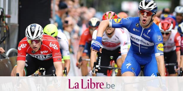 Colombian Alvaro Jose Hodeg of Deceuninck - Quick-Step celebrates as he crosses the finish line to win the fourth stage of the 'Binckbank Tour' cycling race, from Riemst, Belgium to Venray, the Netherlands (191,4 km), Friday 16 August 2019. BELGA PHOTO DAVID STOCKMAN