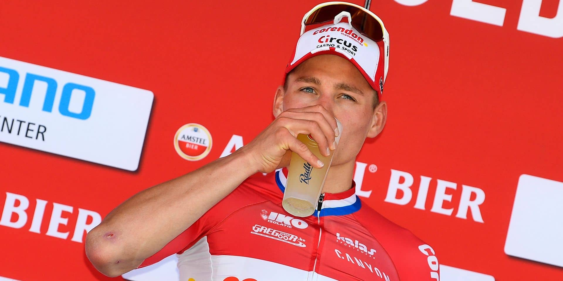 Dutch Mathieu Van der Poel of Corendon-Circus celebrates on the podium after winning the 'Amstel Gold Race' one day cycling race, 263 km from Maastricht to Berg en terblijt, The Netherlands, Sunday 21 April 2019. BELGA PHOTO YORICK JANSENS