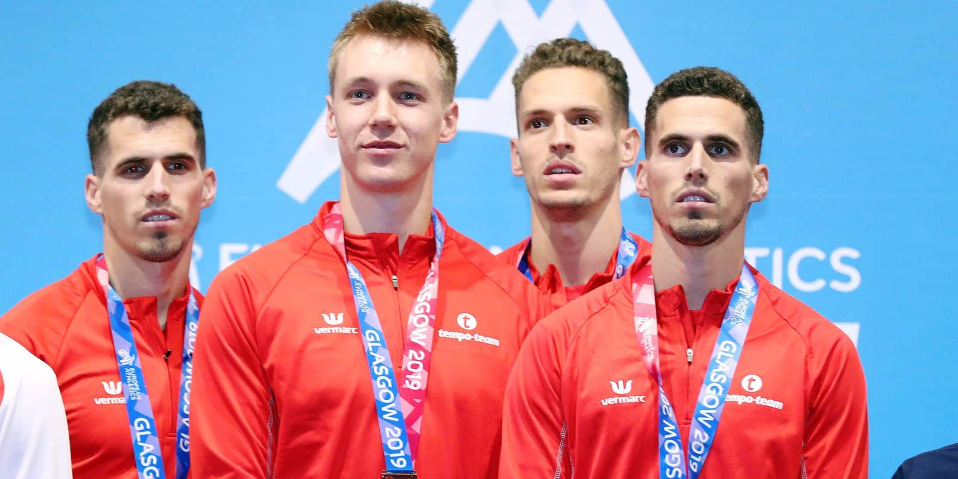 Belgian Jonathan Borlee, Belgian Julien Watrin, Belgian Dylan Borlee and Belgian Kevin Borlee celebrate on the podium after winning the men's 4x400m relay race on the third and last day of the European Athletics Indoor Championships, in Glasgow, Scotland, Sunday 03 March 2019. The championships take place from 1 to 3 March. BELGA PHOTO BENOIT DOPPAGNE