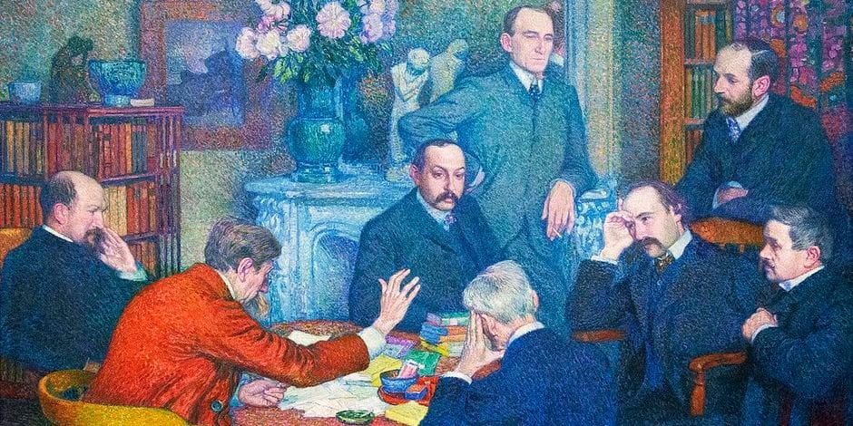 """Dans son appartement de Saint-Cloud, Émile Verhaeren lit ses oeuvres à ses contemporains, dont Maeterlinck. (Théo van Rysselberghe, """"La lecture par Émile Verhaeren"""")"""