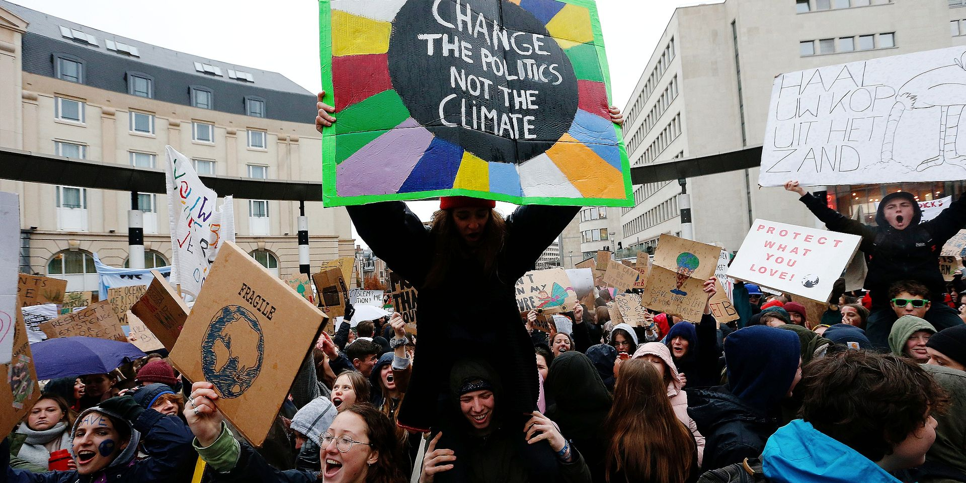 Illustration picture shows a student strike action, organized by 'Youth For Climate', urging pupils to skip classes to protest a lack of climate awareness, Thursday 17 January 2019 in Brussels. This is the second action, after last week's protest. BELGA PHOTO NICOLAS MAETERLINCK