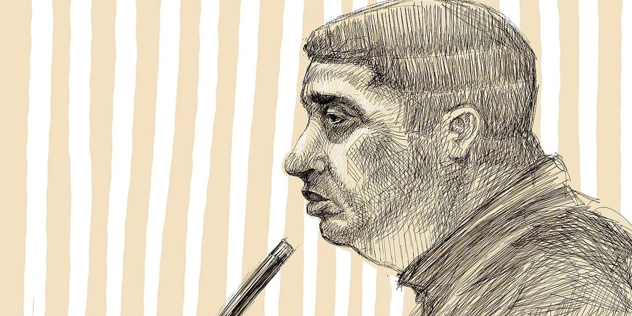 This drawing by Igor Preys shows the accused Nacer Bendrer during a session in the trial regarding the terrorist attack at the Jewish Museum in Brussels, at the Brussels Justice Palace, in Brussels, Friday 08 February 2019. Nemmouche and Bendrer are accused of committing a terrorist attack on 24 May 2014 at the Brussels Jewish Museum, killing four people. BELGA PHOTO IGOR PREYS