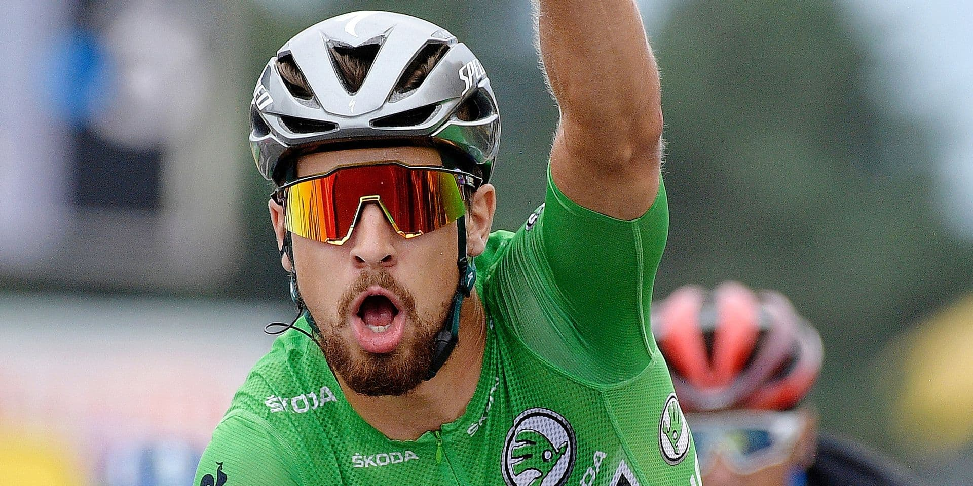Slovak Peter Sagan of Bora-Hansgrohe celebrates as he crosses the finish line to win the 13th stage in the 105th edition of the Tour de France cycling race, from Bourg d'Oisans to Valence (169,5 km), France, Friday 20 July 2018. This year's Tour de France takes place from July 7th to July 29th. BELGA PHOTO YORICK JANSENS