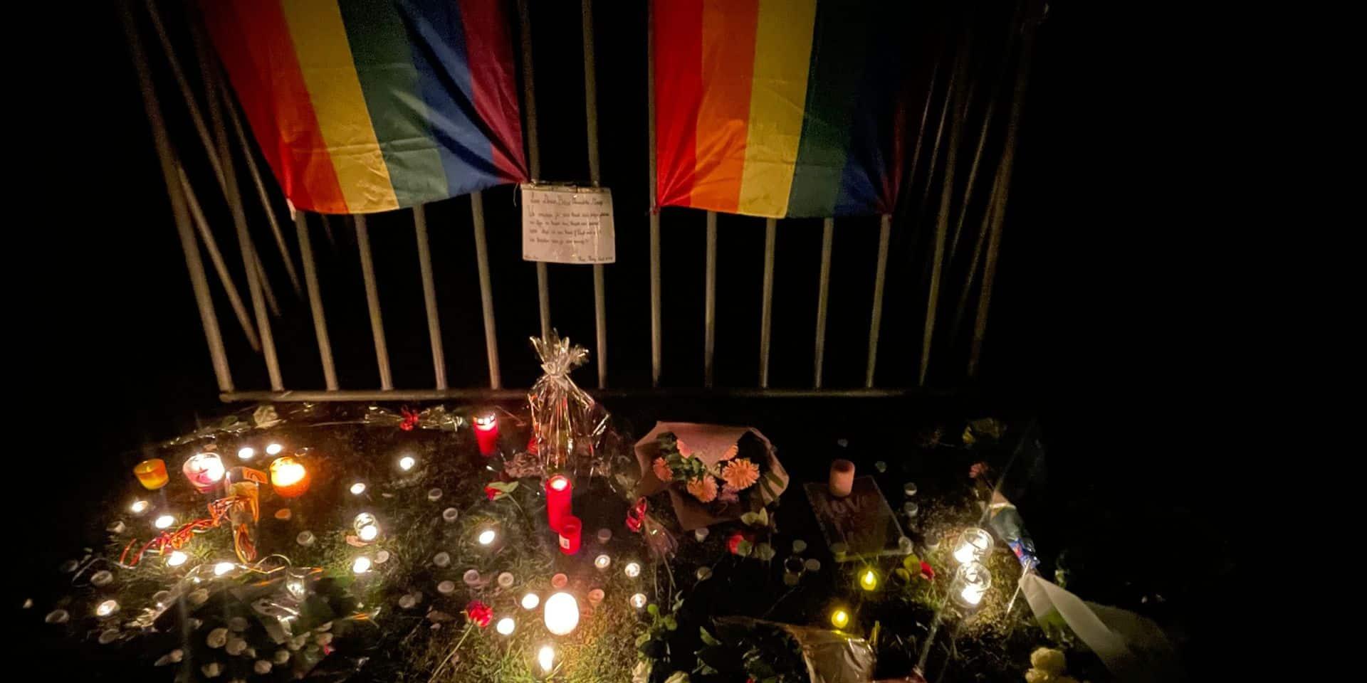 Hommage de la communauté LGBTQI+ à David Polfliet devant la Bourse à Bruxelles