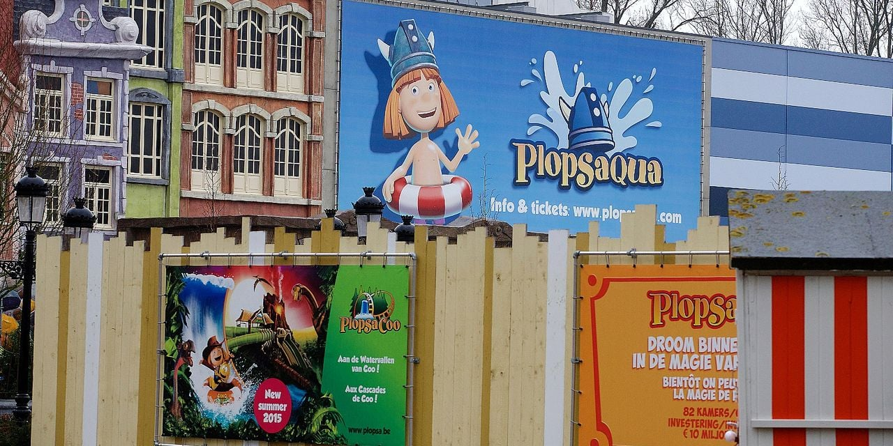 20151208 - DE PANNE, BELGIUM: Illustration shows Plopsaqua logo pictured during a visit after a press conference on the investments plans of Plopsaland for 2016, Tuesday 08 December 2015, in Plopsaland De Panne. BELGA PHOTO NICOLAS MAETERLINCK