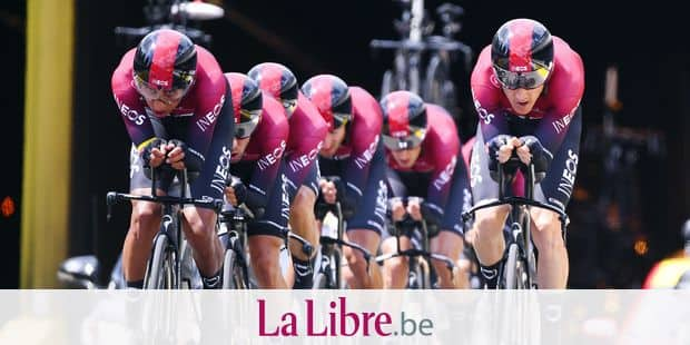 BRUSSELS, BELGIUM - JULY 7 : BERNAL GOMEZ Egan Arley (COL) of TEAM INEOS, THOMAS Geraint (GBR) of TEAM INEOS during stage 2 of the 106th edition of the 2019 Tour de France cycling race, a team time trial of 27,6 kms with start and finish in Brussels on July 07, 2019 in Brussels, Belgium, 7/07/2019 ( Motordriver Kenny Verfaillie - Photo by Vincent Kalut / Photo News
