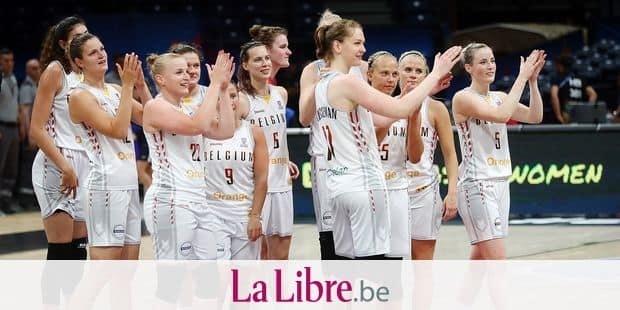 Belgian Cats' players celebrate after winning a basketball match between Belgian national team Belgian Cats and Hungary, a classification game for the Olympic Qualifying tournament, Saturday 06 July 2019 in Belgrade, Serbia, at the Women's EuroBasket basketball European championships, organised in Latvia and Serbia. BELGA PHOTO VIRGINIE LEFOUR