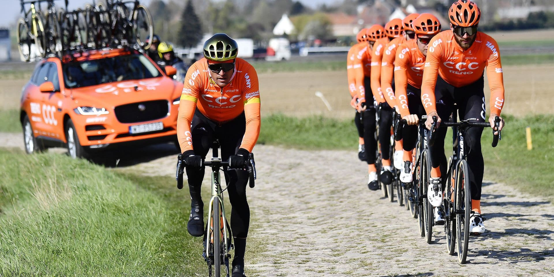 Belgian Greg Van Avermaet of CCC Team (L) pictured in action on a cobblestone sector during a track reconnaissance, Friday 12 April 2019, ahead of Sunday's 'Paris-Roubaix' one day cycling race. BELGA PHOTO DIRK WAEM