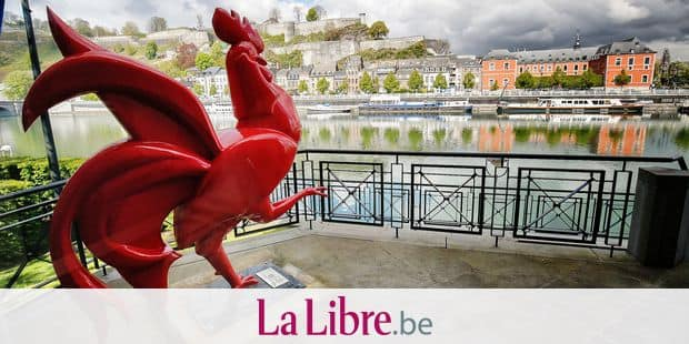 Illustration picture shows the rooster statue at the Walloon Parliament building and the Citadel ahead of for a press conference after a meeting of the Walloon government at the Elysette in Namur, Thursday 27 April 2017. BELGA PHOTO BRUNO FAHY