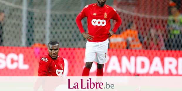 Standard's Obbi Oulare looks dejected after a soccer match between Standard de Liege and KAA Gent, Friday 10 May 2019 in Liege, on day 8 (out of 10) of the Play-off 1 of the 'Jupiler Pro League' Belgian soccer championship. BELGA PHOTO BRUNO FAHY