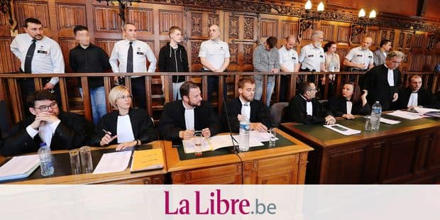 Accused Killian Wilmet, Loick Masson, Dorian Daniels, Belinda Donnay and Alexandre Hart pictured during the jury composition of the assizes trial of five men accused for the murder on Valentin Vermeersch before the Assizes Court of Liege, Tuesday 30 April 2019, in Liege. 18-year-old Vermeersch was thrown in the Meuse river and died by drowning after being tortured in the night of 26 and 27 March 2017 in Wanze. BELGA PHOTO BRUNO FAHY
