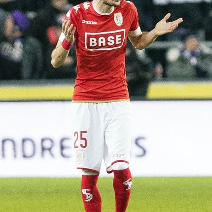 Standard's Filip Mladenovic leaves the field after receiving a red card during the Jupiler Pro League match between RSC Anderlecht and Standard de Liege, in Anderlecht, Brussels, Sunday 29 January 2017, on day 24 of the Belgian soccer championship. BELGA PHOTO LAURIE DIEFFEMBACQ
