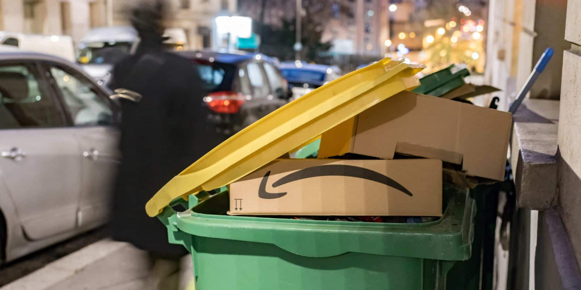 Trash Can Contains Packaging From Amazon - Paris