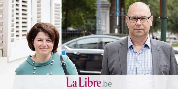 ACV/CSC general secretary Marie-Helene Ska and ACV/CSC christian union chairman Marc Leemans pictured ahead of a meeting of Prime Minister Michel and Minister for Work Peeters with the Group of 10 (Groep van Tien - Groupe de Dix), a selection of social partners including union representatives and employers organisations, Monday 18 June 2018, at the Lambermont in Brussels. They will discuss the vacancies that are hard to fill (knelpuntberoepen - metiers en penurie) BELGA PHOTO BENOIT DOPPAGNE