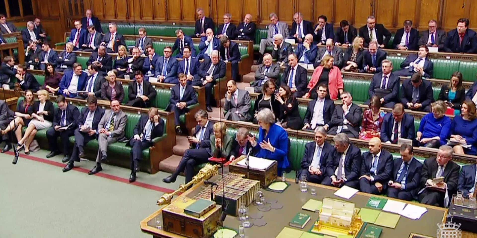 "A video grab from footage broadcast by the UK Parliament's Parliamentary Recording Unit (PRU) shows Britain's Prime Minister Theresa May speak during a debate on a motion of no confidence, in the House of Commons in London on January 16, 2019. - Prime Minister Theresa May was expected to win a confidence vote on Wednesday despite a crushing defeat over her Brexit deal that triggered warnings of a chaotic ""no-deal"" divorce. (Photo by HO / various sources / AFP) / RESTRICTED TO EDITORIAL USE - MANDATORY CREDIT "" AFP PHOTO / PRU "" - NO USE FOR ENTERTAINMENT, SATIRICAL, MARKETING OR ADVERTISING CAMPAIGNS"