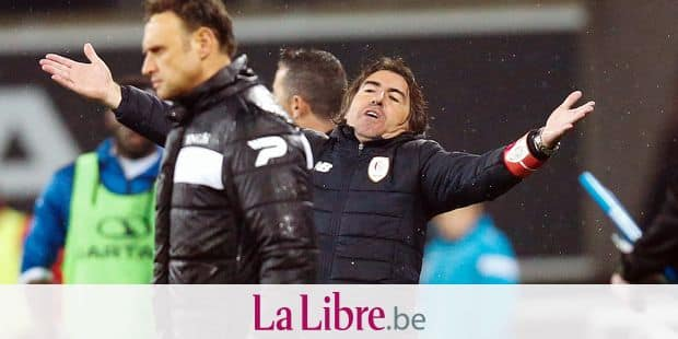 Standard's head coach Ricardo Sa Pinto reacts during the Jupiler Pro League match between KAA Gent and Standard de Liege, in Gent, Sunday 29 April 2018, on day six of the Play-Off 1 of the Belgian soccer championship. BELGA PHOTO BRUNO FAHY