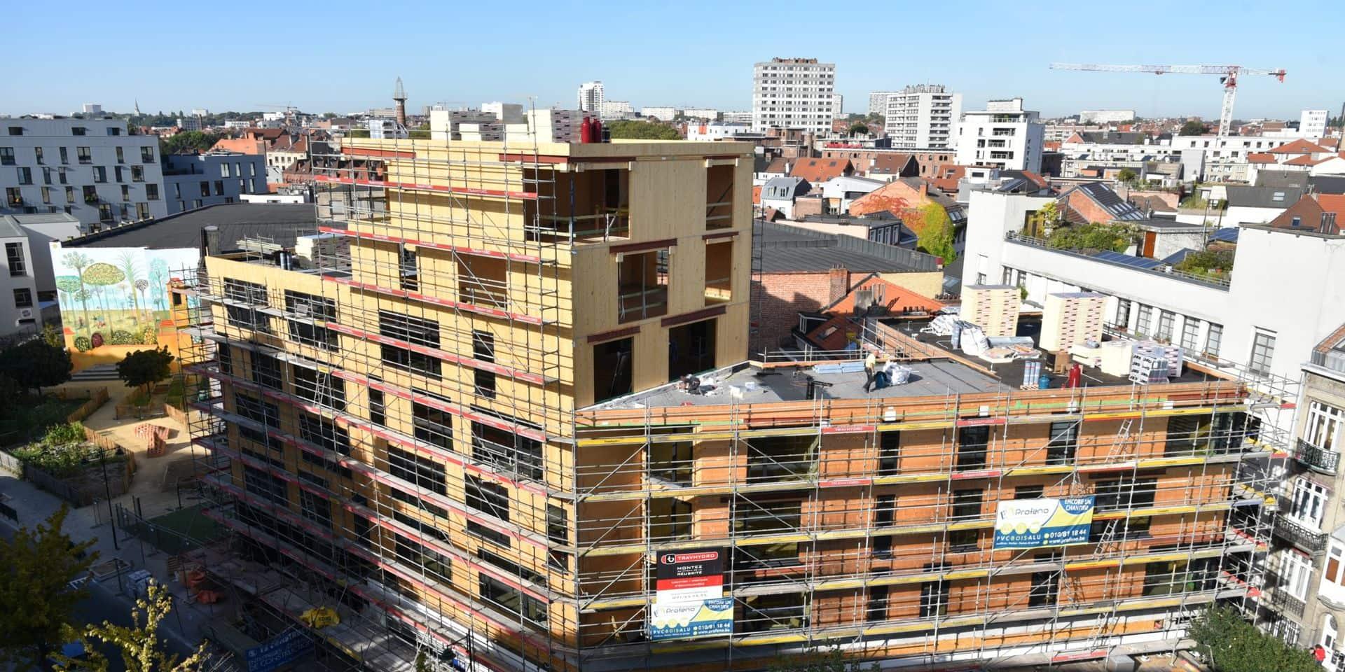 Bruxelles : Le plus haut immeuble construit en bois est en chantier
