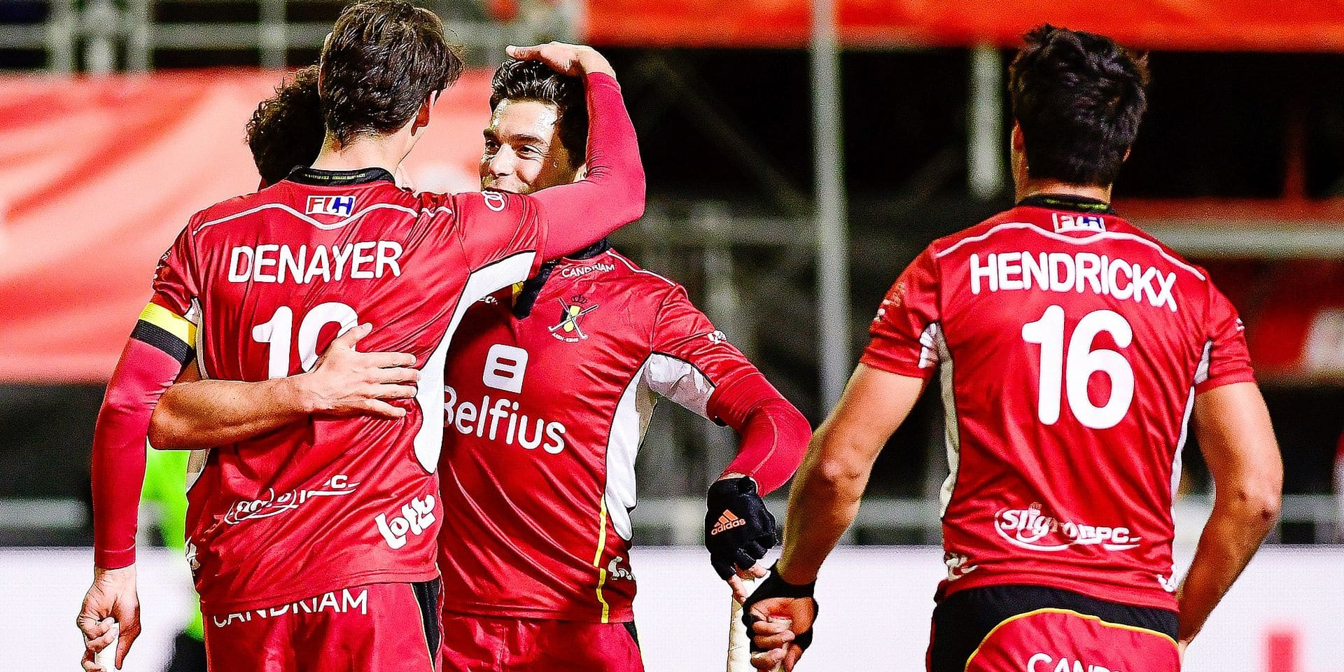 Belgium's Felix Denayer and Belgium's Alexander Hendrickx celebrate after scoring during a field hockey game between Belgium's national team Red Lions and Spain, Wednesday 10 April 2019 in Brussels, game 5/16 of the men's FIH Pro League competition. BELGA PHOTO LAURIE DIEFFEMBACQ