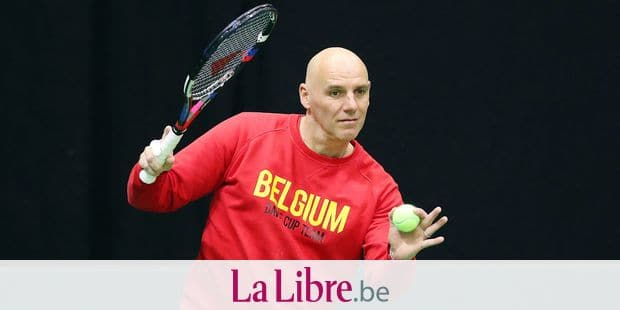 Belgian captain Johan Van Herck pictured during a training practice of the Belgian team ahead of the Davis Cup World first round between Belgium and Hungary, Tuesday 30 January 2018, in Angleur, Liege. The Davis Cup game will be played from 02 to 04 February in Liege. BELGA PHOTO BRUNO FAHY