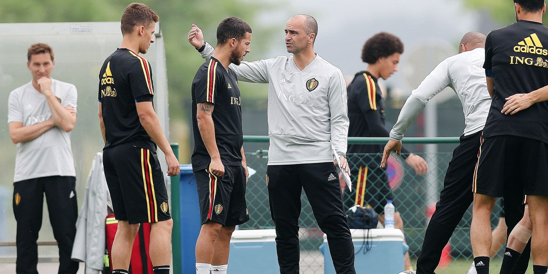 Belgium's Eden Hazard and Belgium's head coach Roberto Martinez pictured during a training session of the Belgian national soccer team Red Devils, Friday 08 June 2018, in Tubize. The Red Devils started their preparations for the upcoming FIFA World Cup 2018 in Russia. BELGA PHOTO BRUNO FAHY