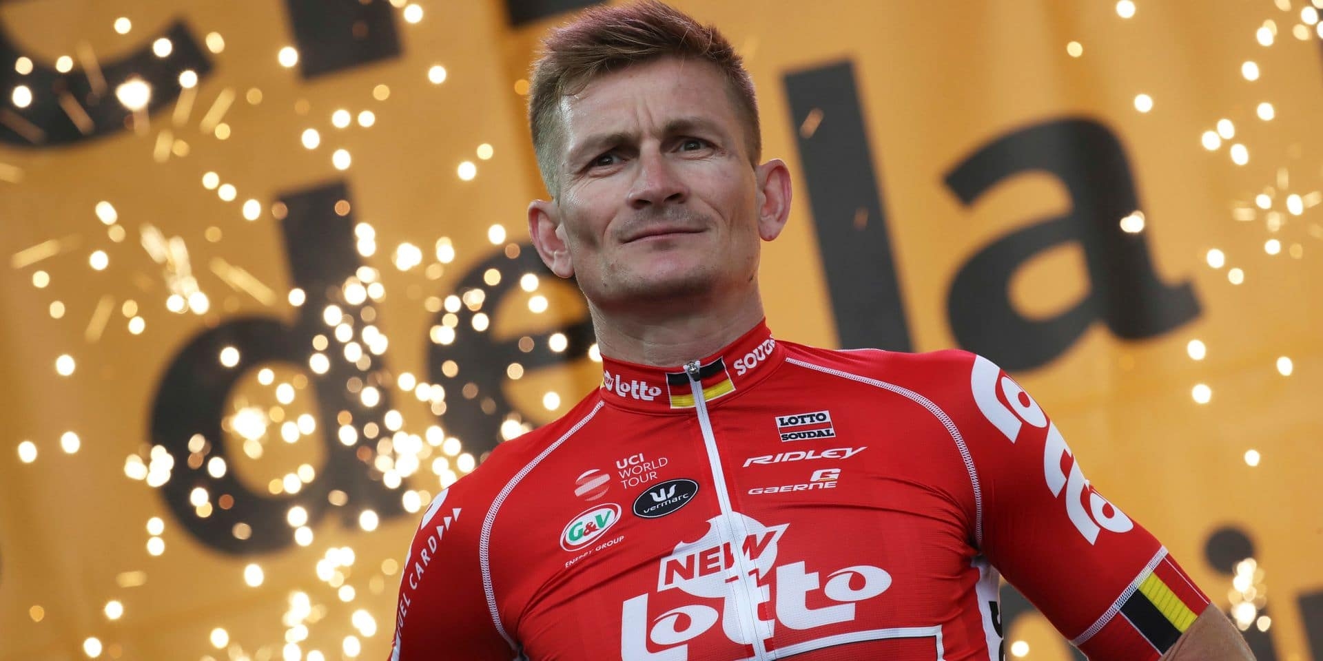 Germany's Andre Greipel stands on the podium during the Tour de France cycling race team presentation in La Roche-sur-Yon, Vendee region, France, Thursday, July 5, 2018, ahead of upcoming Saturday's start of the race. (AP Photo/Christophe Ena )