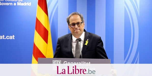 Catalan regional president, Quim Torra talks during a news conference after his meeting with Spain's prime minister Pedro Sanchez, unseen, in Madrid, Monday, July 9, 2018. (AP Photo/Andrea Comas)