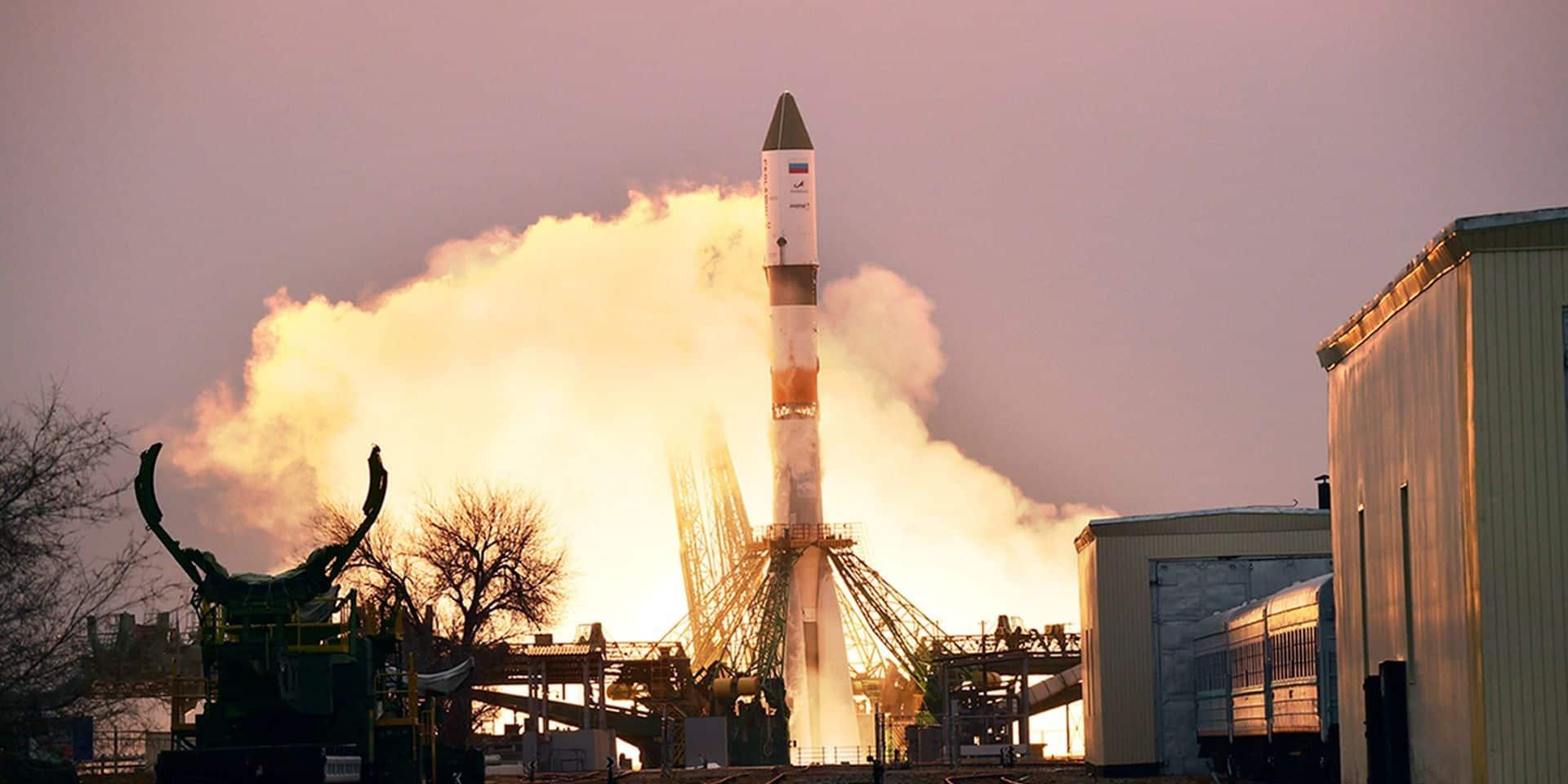 Le cargo russe Progress MS-16 décolle des installations de lancement de Baïkonour, au Kazakhstan.