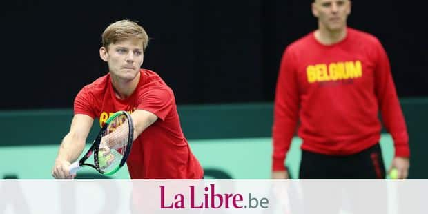 Belgian David Goffin pictured during a training practice of the Belgian team ahead of the Davis Cup World first round between Belgium and Hungary, Tuesday 30 January 2018, in Angleur, Liege. The Davis Cup game will be played from 02 to 04 February in Liege. BELGA PHOTO BRUNO FAHY