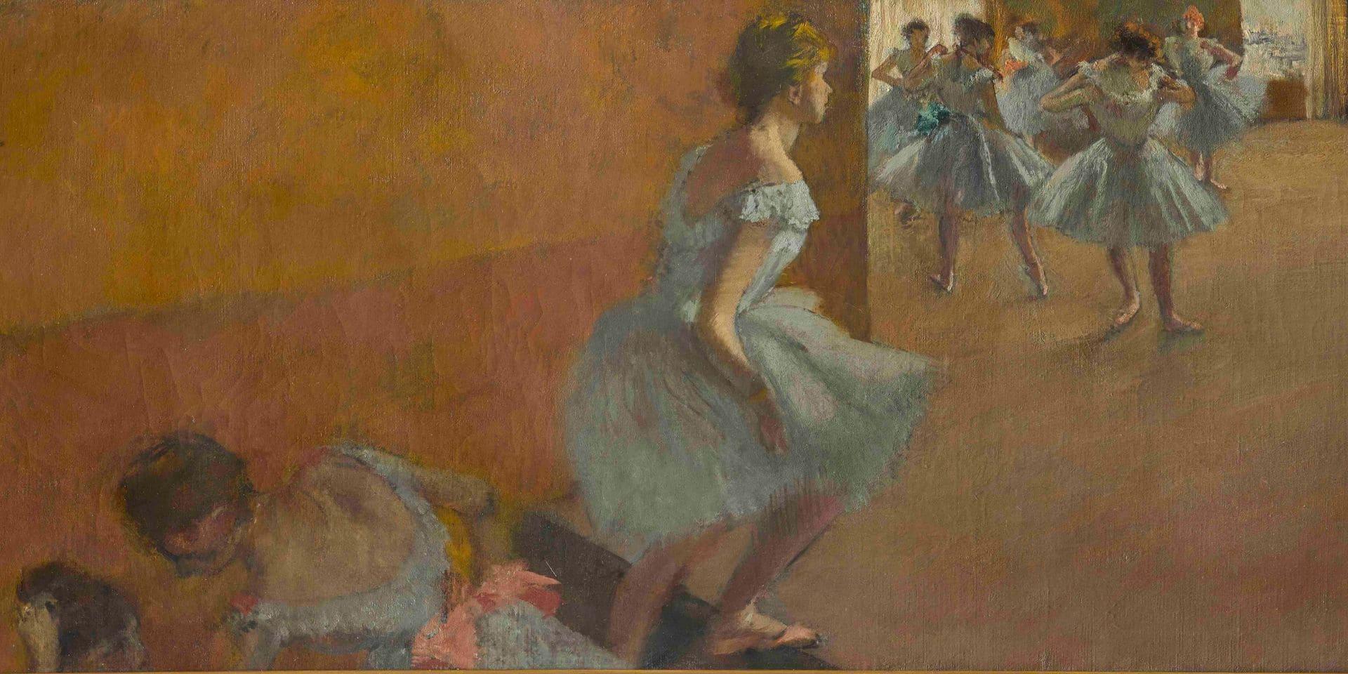 Edgar Degas (1834-1917): Danseuses montant un escalier, 1877. Huile sur toile, 39 x 89,5 cm. Paris, musée d'Orsay, RF 1979