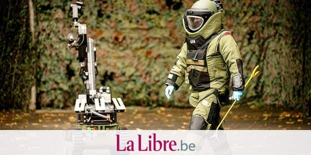 Belgium , Oud-Heverlee , Oct 120 , 2016 - Demonstration at the DOVO - SEDEE service, the mine clearance service of the Belgian Defence Copyright Danny Gys / Reporters Reporters / GYS