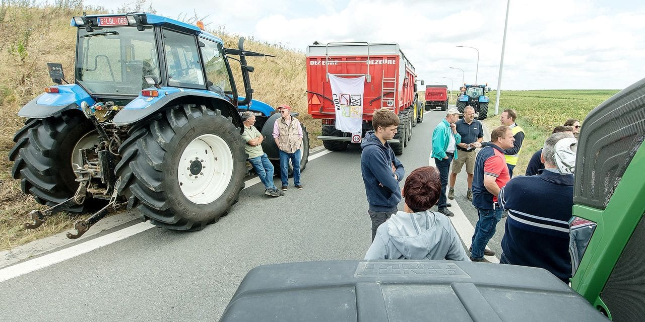 BELGIUM , NIVELLES , AUG. 12, 2019 - Demonstration by the Walloon Federation of Agriculture ( FWA ) and supported by members of the Federation of Agricultural Enterprises against the recent decree issued by the Walloon Minister for Mobility , Carlo Di Antonio ( CDH ), to ban the agricultural cars on the National road N25 Copyright Danny Gys / Reporters Reporters / GYS