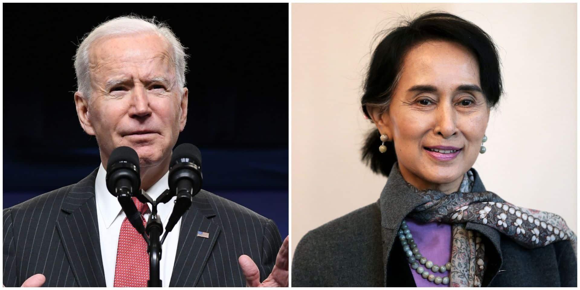 """Birmanie: Joe Biden annonce des sanctions contre la junte militaire et appelle à la libération """"immédiate"""" d'Aung San Suu Kyi"""