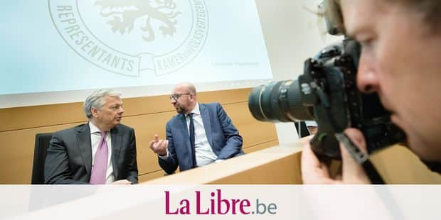 Vice-Prime Minister and Foreign Minister Didier Reynders and Belgian Prime Minister Charles Michel pictured during a session of the joint chamber commission of External Relations and Defence, at the federal parliament, in Brussels, Wednesday 04 July 2018. The commission will discuss the upcoming NATO meeting and the replacement of the F-16 fighter jets. BELGA PHOTO BENOIT DOPPAGNE