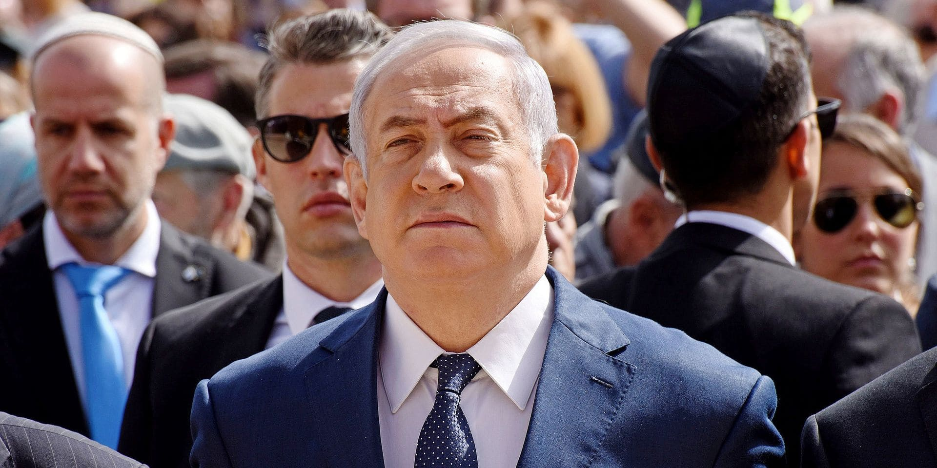 Israeli Prime Minister Benjamin Netanyahu attends a ceremony marking the annual Holocaust Remembrance Day at Yad Vashem Holocaust Memorial in Jerusalem, Israel, April 12, 2018. Israelis stood in silence as sirens sounded for two minutes across the country to remember the six million Jewish victims of Nazi Germany during the Holocaust. Photo by Debbie Hill/UPI PICTURE NOT INCLUDED IN THE CONTRACT ! Only BELGIUM !