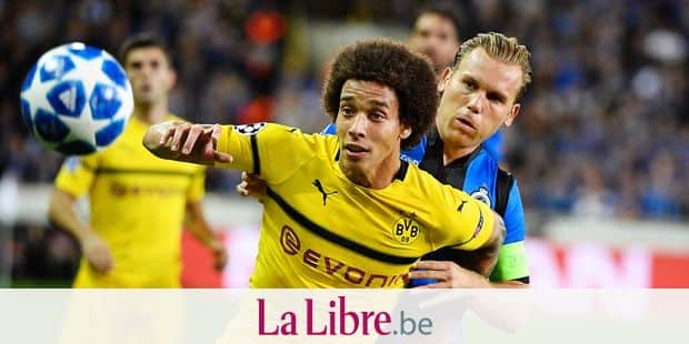 BRUGGE, BELGIUM - SEPTEMBER 18 : Ruud Vormer midfielder of Club Brugge and Axel Witsel midfielder of Borussia Dortmund pictured during a the UEFA Champions League Group A stage match between Club Brugge and Borussia Dortmund at the Jan Breydel stadium on September 18, 2018 in Brugge, Belgium , 18/09/2018 ( Photo by Philippe Crochet / Photonews