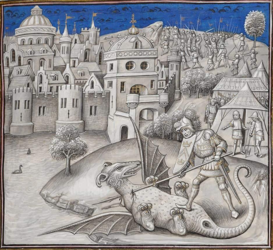 Combat du consul Marcus Actilius et de l'animal fabuleux. Miniature de Willem Vrelant dans Leonardo Bruni, Première guerre punique.