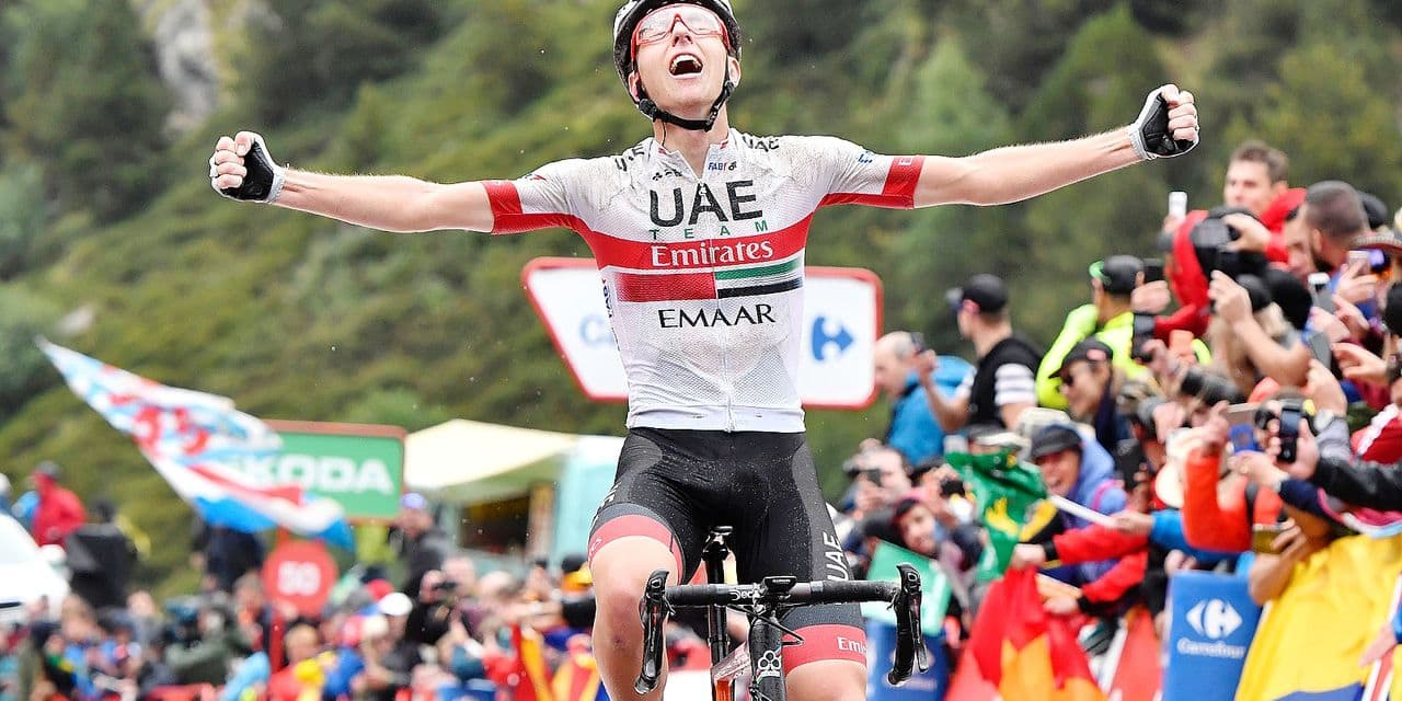 SlovenianTadej Pogacar of UAE Team Emirates celebrates as he wins the stage 9 of the 2019 edition of the 'Vuelta a Espana', Tour of Spain cycling race, from Andorra la Vella to Cortals d'Encamp (94,4 km), Spain, Sunday 01 September 2019. BELGA PHOTO YUZURU SUNADA - FRANCE OUT