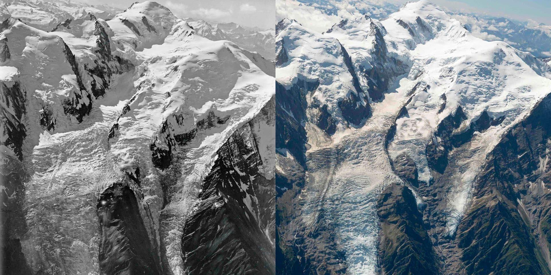 """1919-2019: l'""""indéniable"""" débâcle des glaciers du Mont-Blanc vu du ciel (PHOTOS)"""