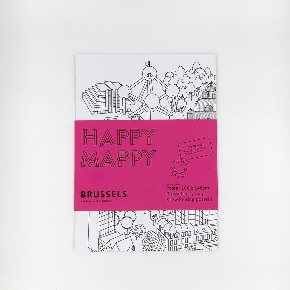 Une carte d'une ville à colorier, ça élimine le stress tout en faisant voyager et en faisant réviser son sens de l'orientation. Un cadeau 3 en 1 à 19.95€, Happy Mappy.