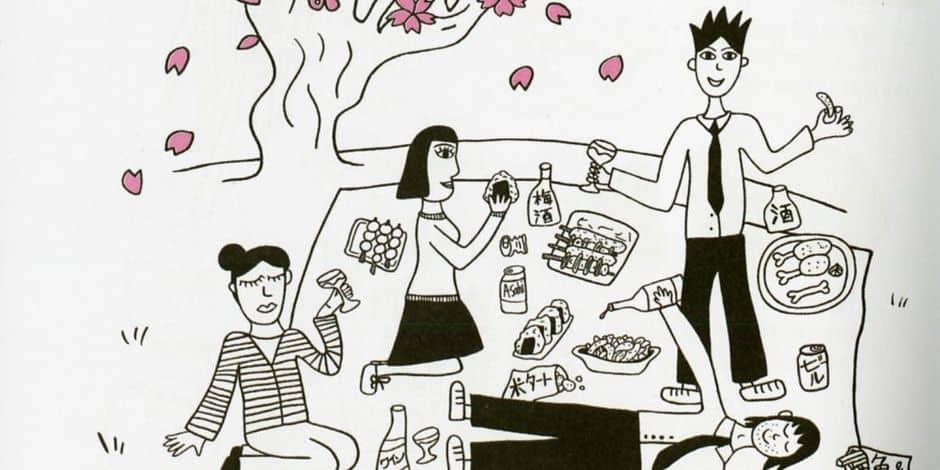 Un pique-nique sous le cerisier du Japon