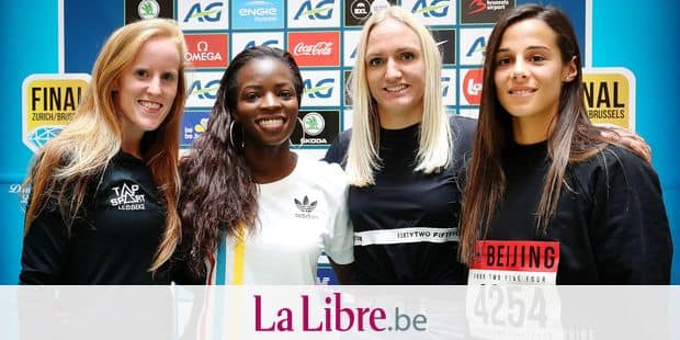 Belgian Margo Van Puyvelde, Belgian Cynthia Bolingo, Belgian Hanne Claes and Belgian Camille Laus pose for the photographer at a press conference regarding the 2018 edition of the Belgacom Memorial Van Damme athletics meeting, Monday 27 August 2018 in Brussels. BELGA PHOTO VIRGINIE LEFOUR