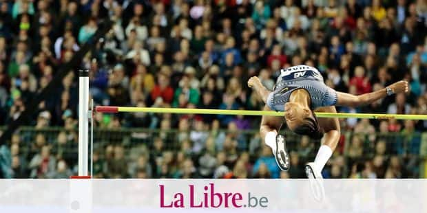 Belgium's Nafissatou Thiam competes in the women's high jump during the Diamond League Memorial Van Damme athletics event at the King Baudouin stadium in Brussels on Friday, Sept. 6, 2019. (AP Photo/Virginia Mayo)