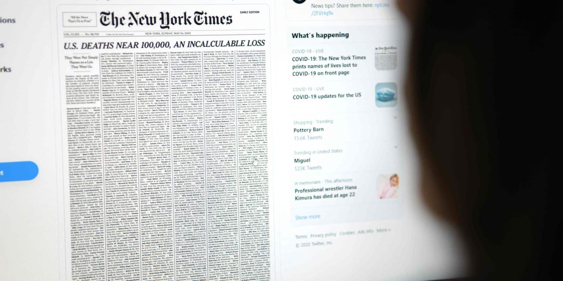 """La Une choc du New York Times dédiée aux victimes du coronavirus: """"Aucune de ces personnes n'était un simple numéro"""""""