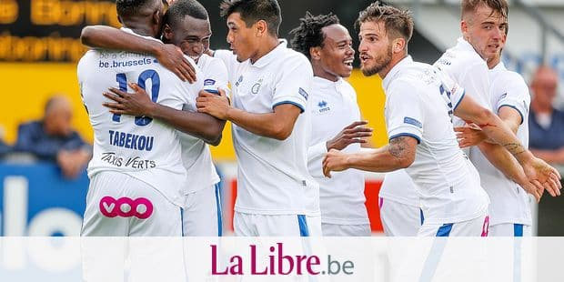 Union's Youssoufou Niakate celebrates after scoring during a soccer game between Westerlo and Union Saint-Gilloise, in Westerlo, Saturday 18 August 2018, on the third day of the division 1B Proximus League competition of the Belgian soccer championship. BELGA PHOTO BRUNO FAHY