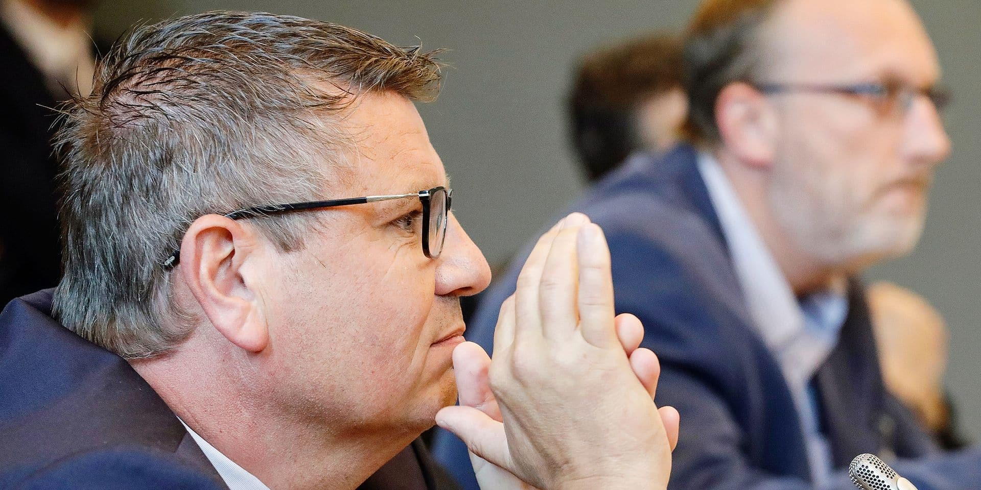 Fernand Grifnee, Administrator of Ores pictured during a session of the Energy commission at the Walloon Parliament, on Monday 12 June 2017, in Namur. BELGA PHOTO THIERRY ROGE