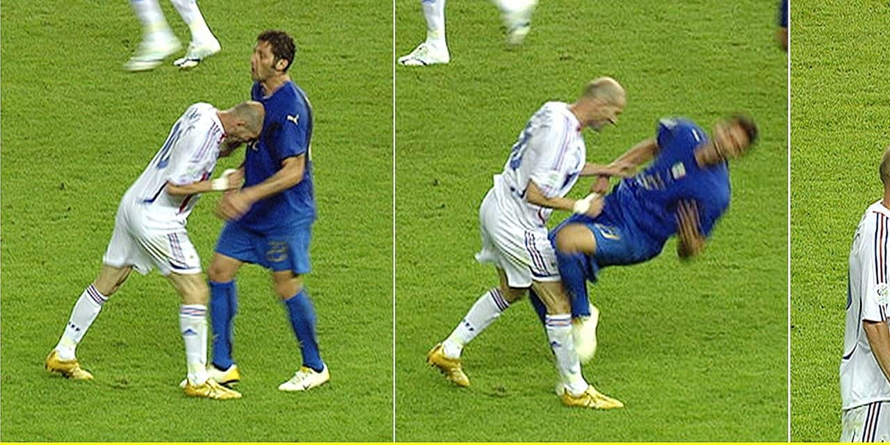 A picture combo of TV grabs shows the foul Zinedine Zidane (L) of France to Italy's Marco Materazzi and the red card shown to Zidane by referee Horacio Elizondo of Argentina during the final of the 2006 FIFA World Cup between Italy and France at the Olympic Stadium in Berlin, Germany, Sunday 09 July 2006. DPA/WDR +++ Mobile Services OUT +++ Please refer to FIFA's Terms and Conditions. +++(c) dpa - Report+++