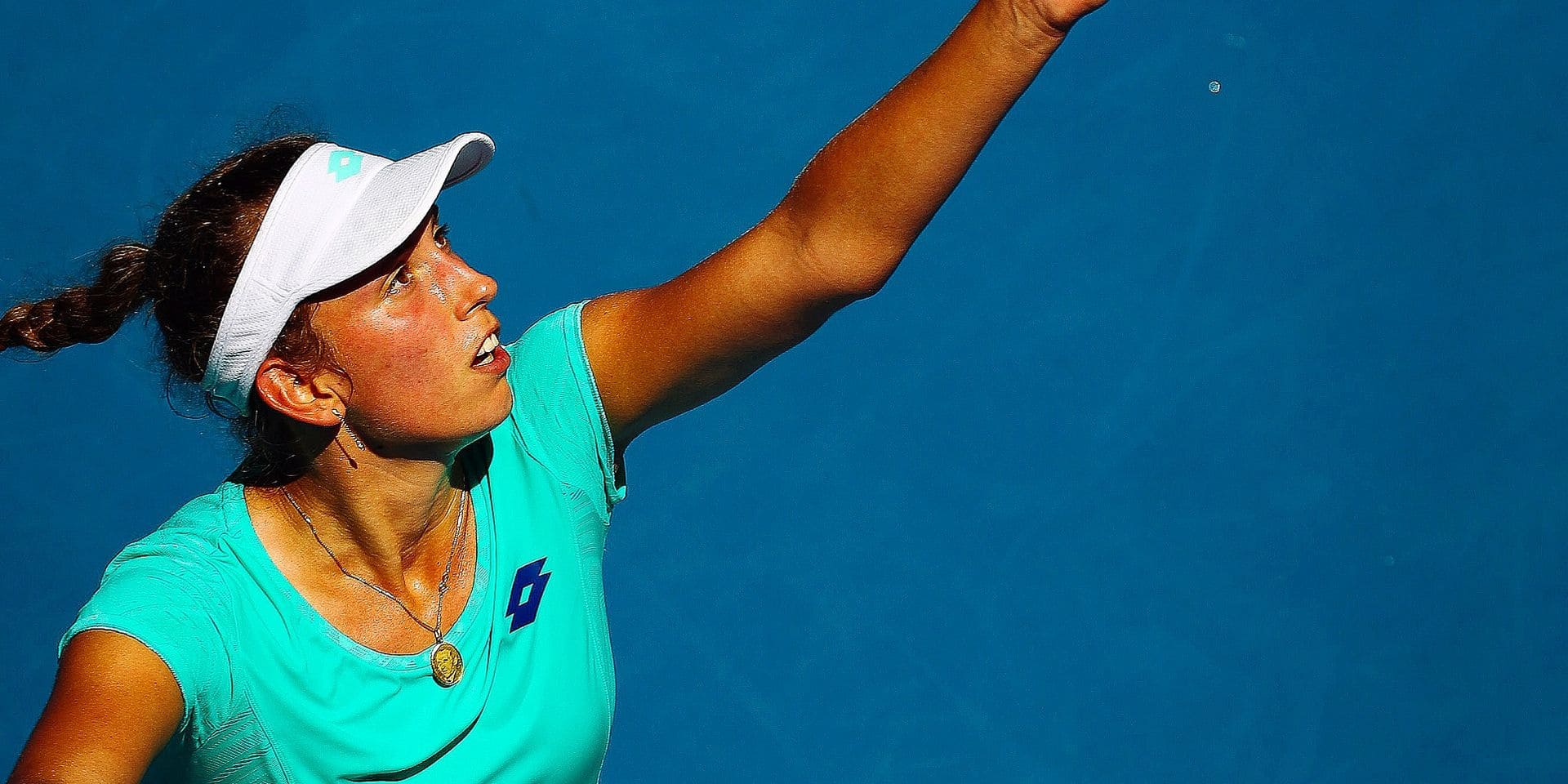 Belgian Elise Mertens pictured in action during a tennis match between Belgian Elise Mertens (WTA 37) and French Alize Cornet (WTA 42), in the third round of the women's singles tournament at the 'Australian Open' tennis Grand Slam, Thursday 18 January 2018 in Melbourne Park, Melbourne, Australia. This first grand slam of the season will be taking place from 15 to 28 January. BELGA PHOTO PATRICK HAMILTON
