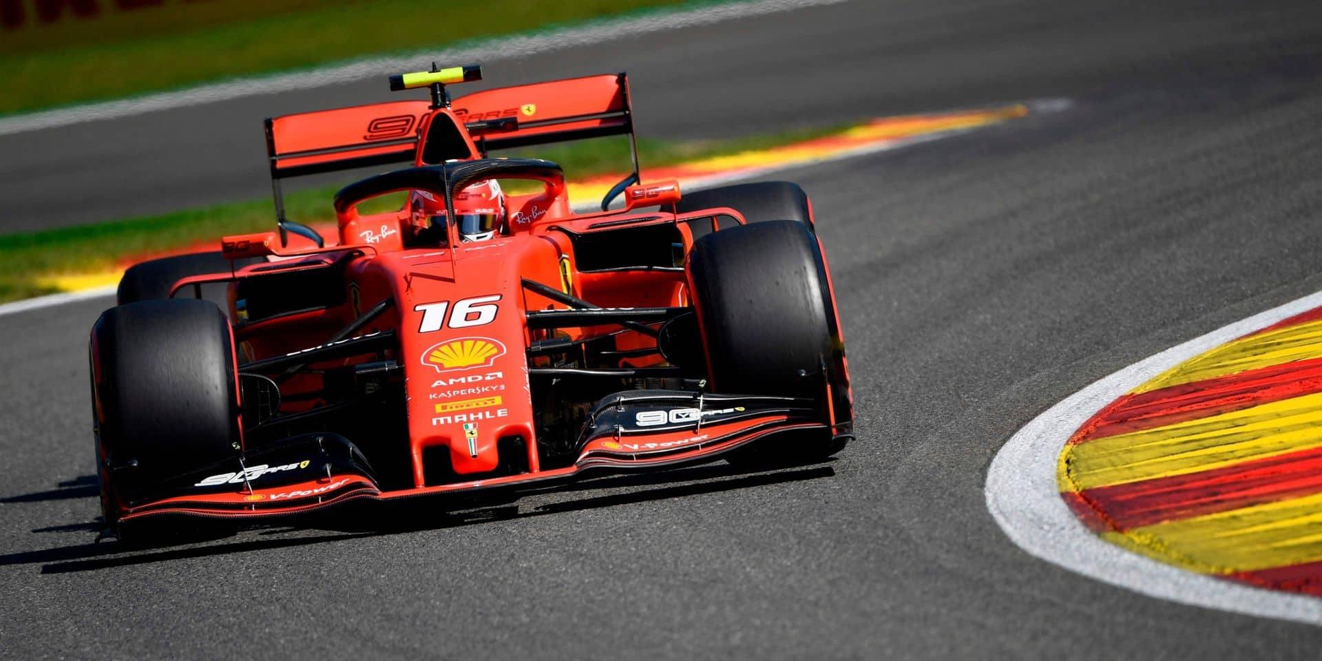 Première ligne 100% Ferrari au GP F1 de Belgique: Leclerc devant Vette